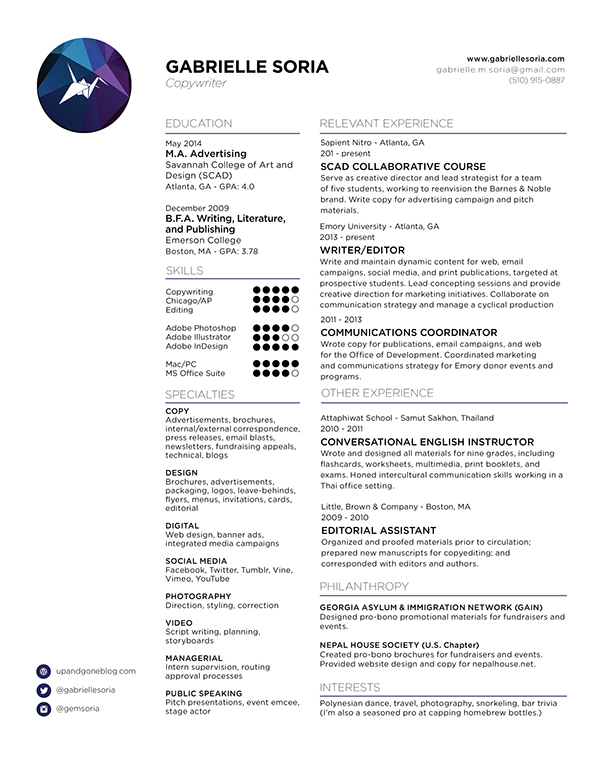 resume on scad portfolios