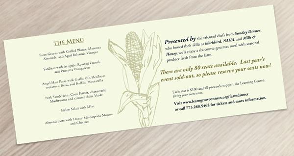 menu Invitation nonprofit