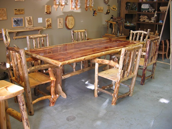 log dining room table and chairs on behance