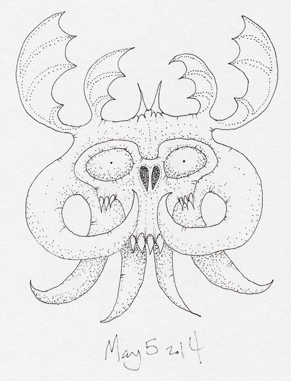 daily demon monster weird ink paper twitter spooky FIEND