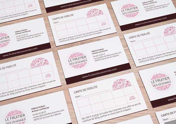 logo, identité, plaquette, brochure, présentation, étiquette produit, confitures, cartes de visite, stickers, packaging, graphiste, lozère, cévennes, julie mercey