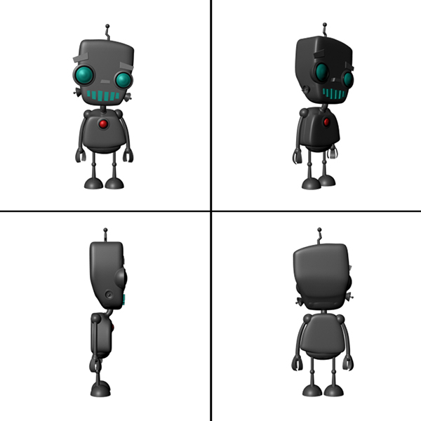happy robot 3d model on Student Show