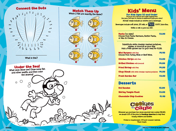Ruby Tuesday Kids Menus on Space Theme