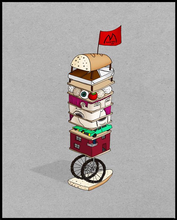 sandwich  FOOD  street art  modern modernism  cool  color  detail  Illustration  drawing  pen  nasty  morbid  Graffiti levels