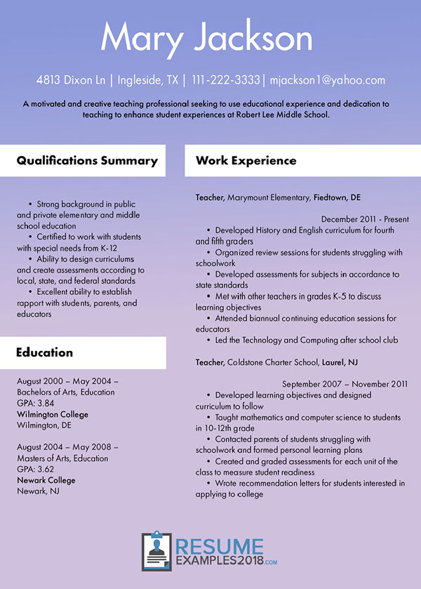 Teacher Resume Example On Pantone Canvas Gallery