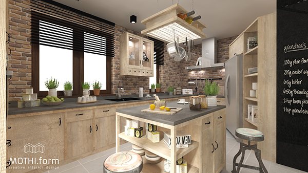 Kitchen Interior Design Rustic Style On Behance