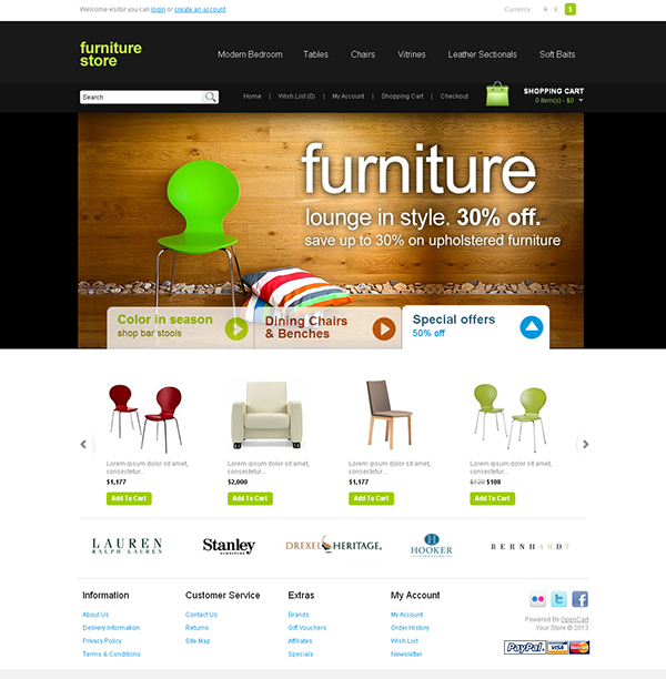 Furniture Store OpenCart Theme on Behance