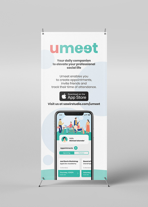 X-Banner that promotes Umeet with a screenshot of Umeet's Home screen