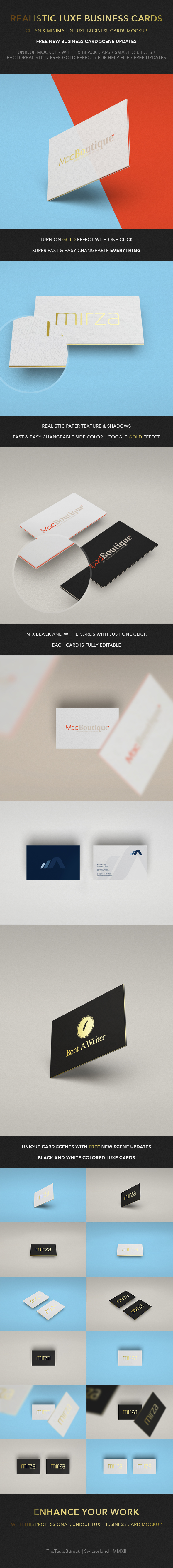 Realistic Luxe Business Card Mock-Up on Behance