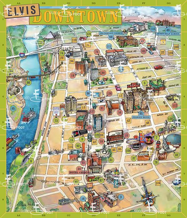 Elvis Presley landmarks of Memphis on Behance