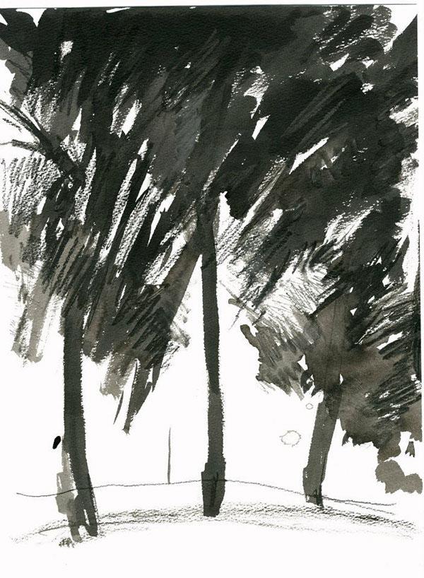 Landscape  seaside fields trees sea beach scotland Dunbar Scottish Borders monochrome watercolour ink