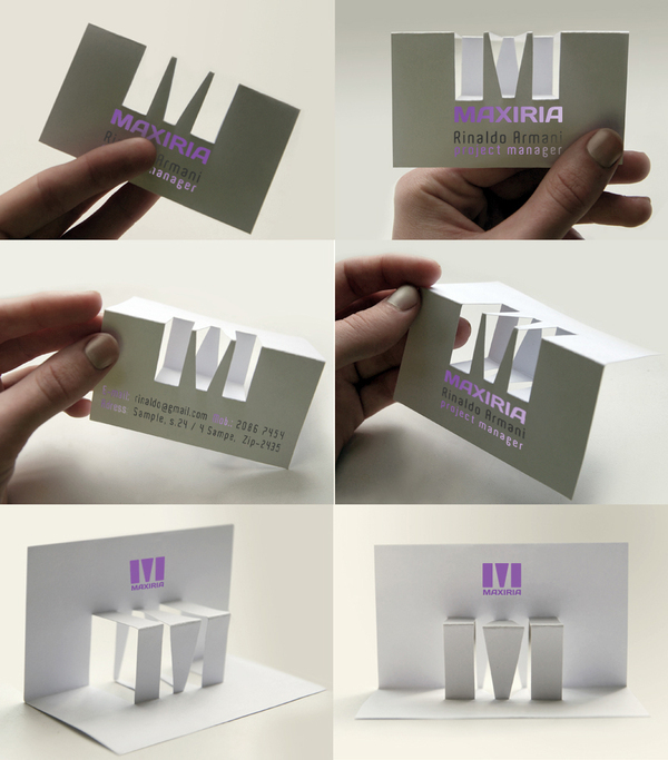 bussiness card Maxiria Stationery Innovative paper sculpture logo cut out paper