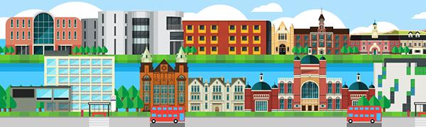 Universities Education United Kingdom UK england study education fair Monocle LED screen long format animation London birmingham Nottingham Creative arts