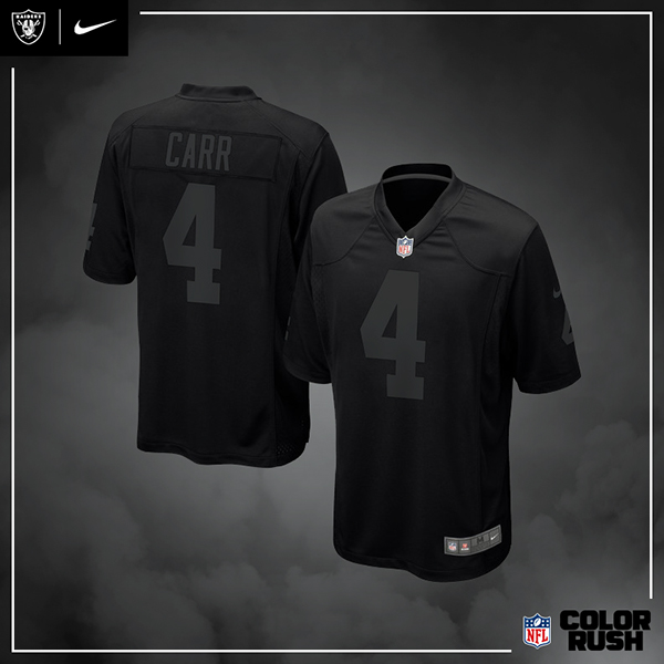 new product cb3a3 ef772 Nike | 2018 Oakland Raiders – Color Rush Blackout on Student ...