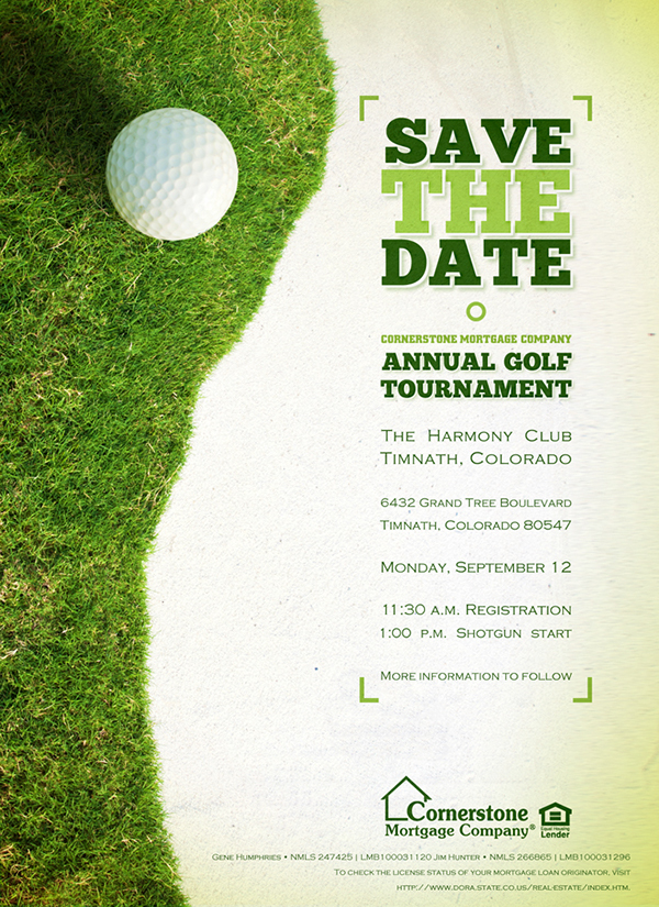 2011 Cornerstone Quot Colorado Quot Golf Tournament Collateral On