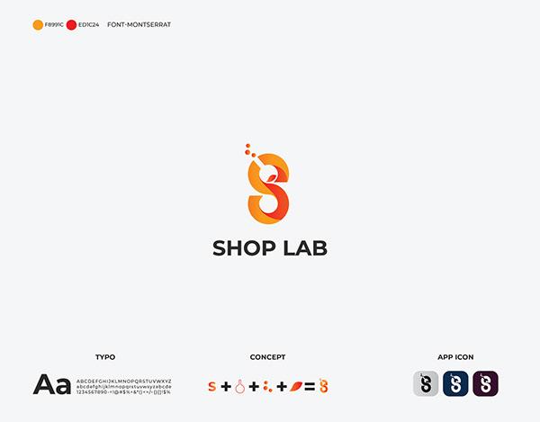 initial S letter base shopping logo