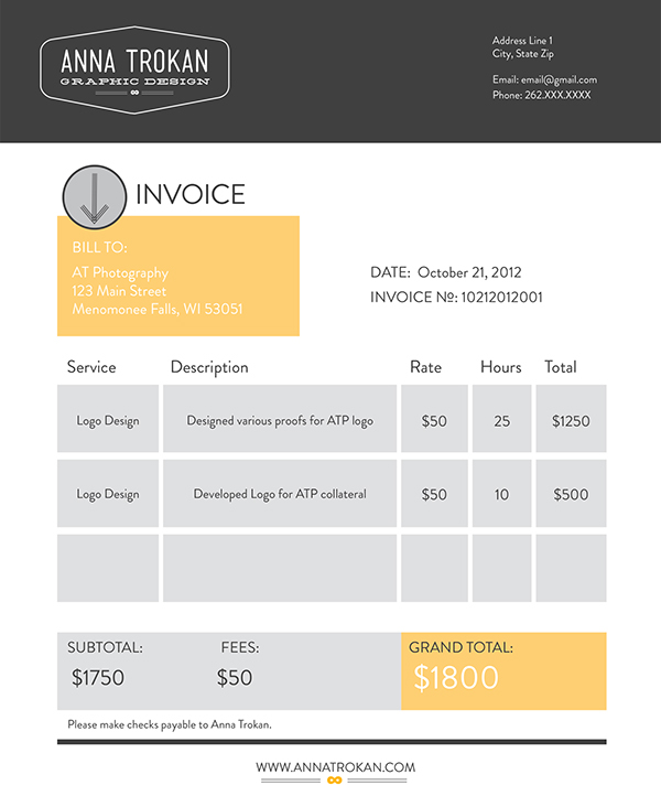 Elegant Thank You! Ideas Design Invoices