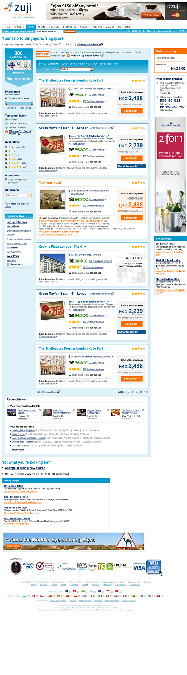 search results  Hotels  design  UI Design