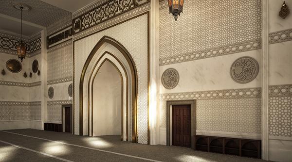 El zaidan mosque interior design on behance for Interior design lighting principles