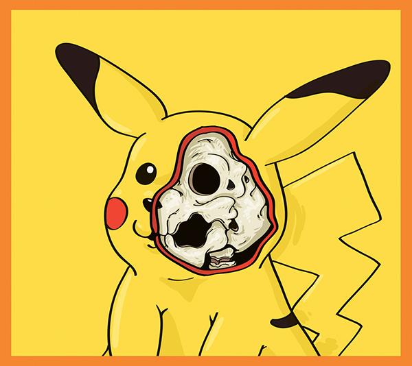 cartoon art tweety Pooh simpsons minions spongebob skull Pokemon yellow cute Character Fun bones