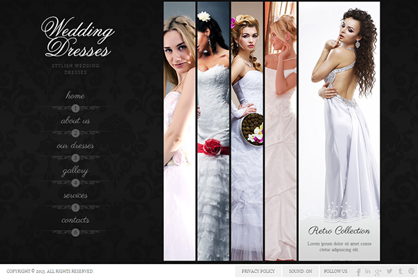 wedding dresses stylish wedding dress html5 template on behance