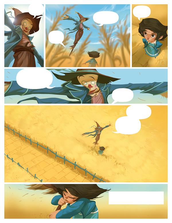 comic pages OZ dorothy lion scarecrow wizard digital color