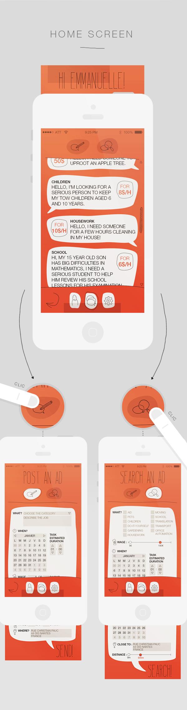 app  money balloon Form job ad research mobile odd job handmade red orange neighborhood video finger