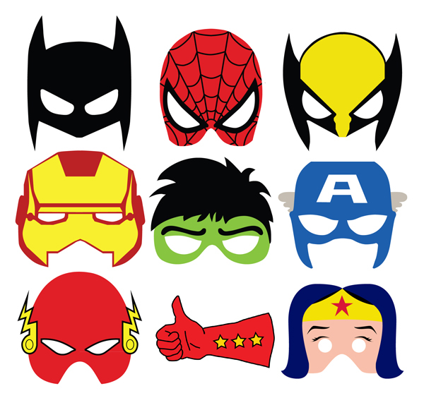 graphic regarding Free Printable Superhero Photo Booth Props titled Superheroes masks upon Behance