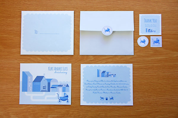 christening Invitation print Stationery card stickers envelope