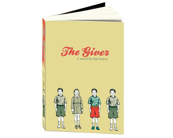 book cover the giver Retro modern trendy color palette digital illustration Little Boy little girl classic novel School Project