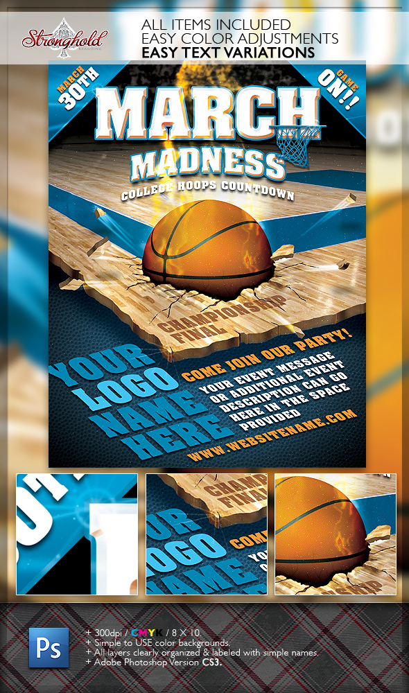 March madness basketball flyer template on behance for Basketball tournament program template