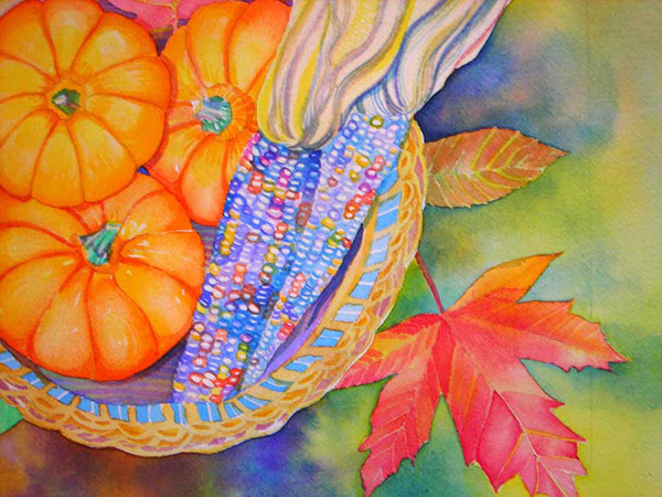 Autumn Leaves Painting Autumn Watercolor Painting
