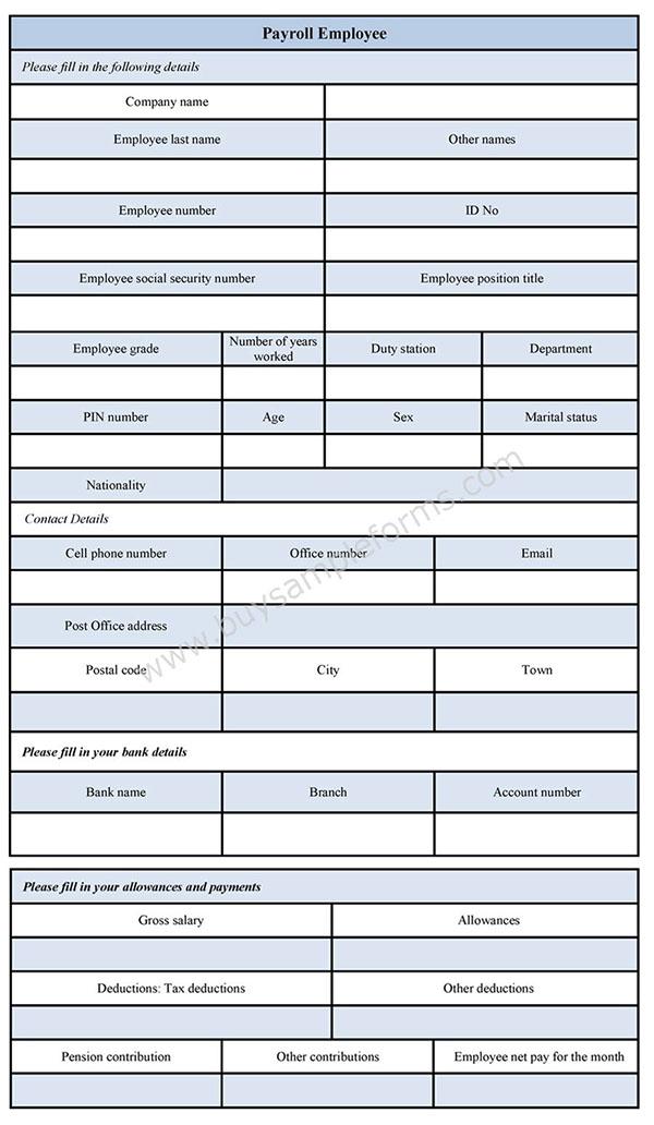 Payroll Employee Form Template on Behance – Employee Payroll Template