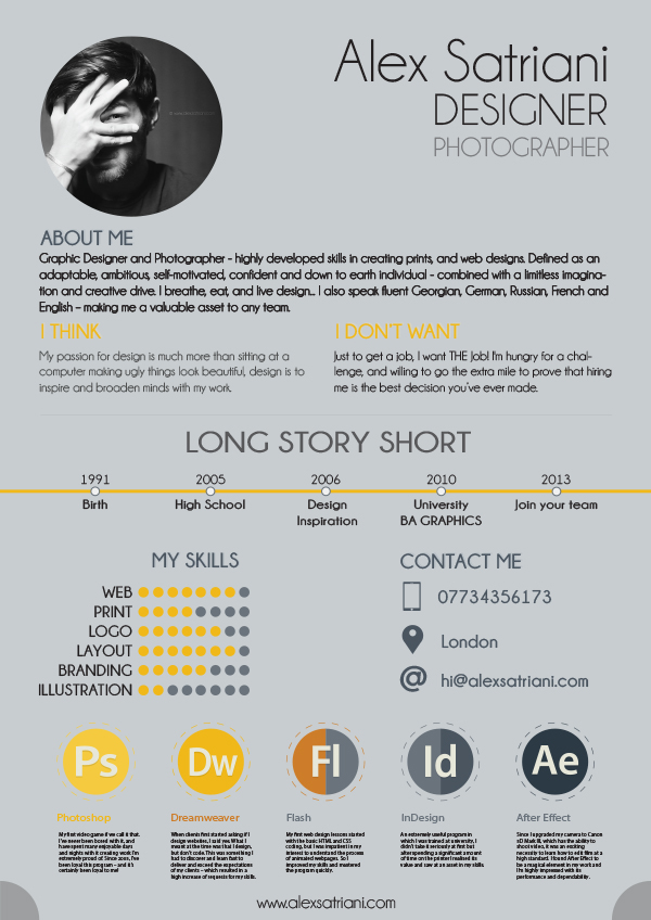 alex graphic design cv on behance - Graphic Designer Resume