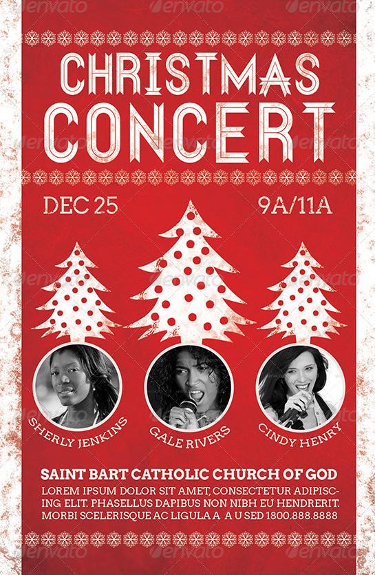 christmas concert flyer template on behance. Black Bedroom Furniture Sets. Home Design Ideas