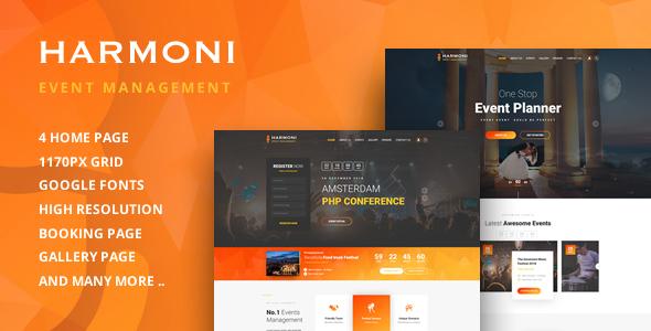 Harmoni-Event Management PSD Template on Behance