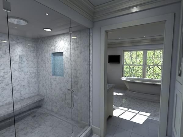 Mendham luxury master bath walk in closet on behance for Master bathroom with walk in closet