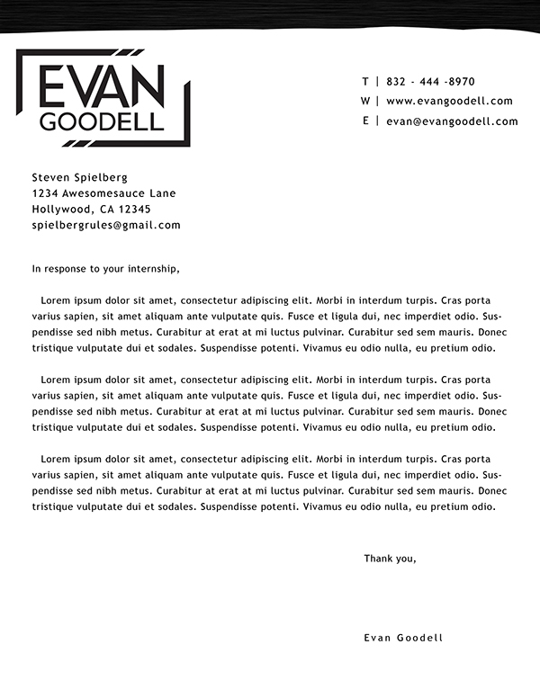Personal Letterhead For Cover Letter