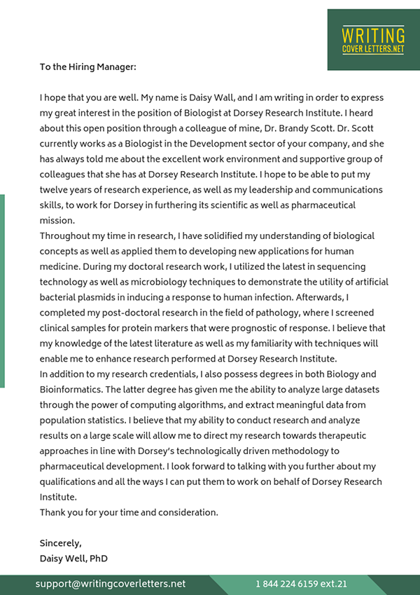 Biology Cover Letter Examples On Pantone Canvas Gallery
