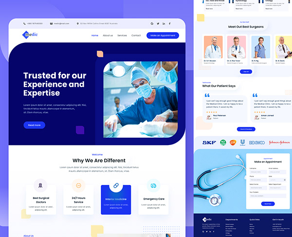 Surgical Clinic Website landing page