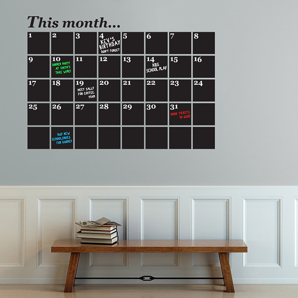 Calendar fice Chalkboard Wall Sticker on Behance