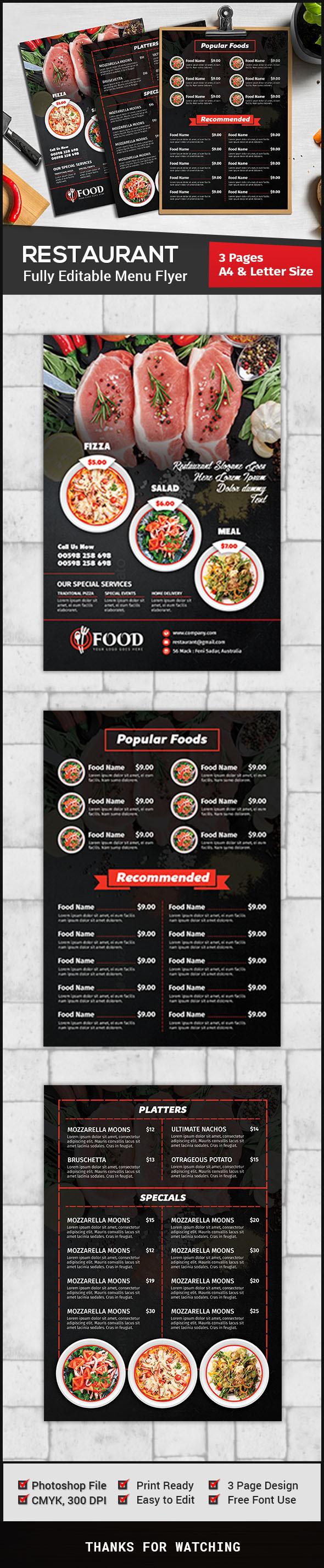 restaurant menu flyer template on behance