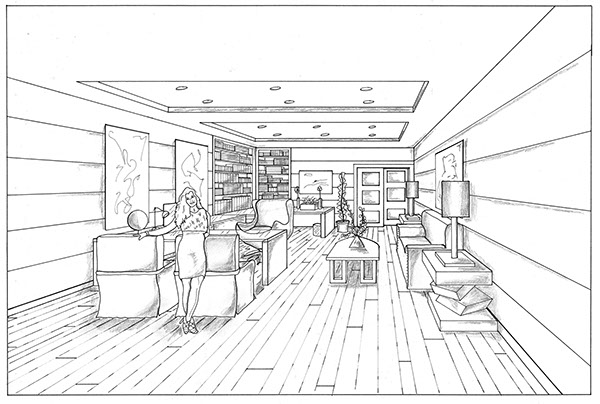 Office One Point Perspective On Behance
