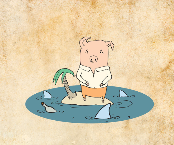 piglet vector improvization Construction materials ad campaign cow sheep house Leak conduit straw thatched roof Isolation rain Umbrella shark little pig