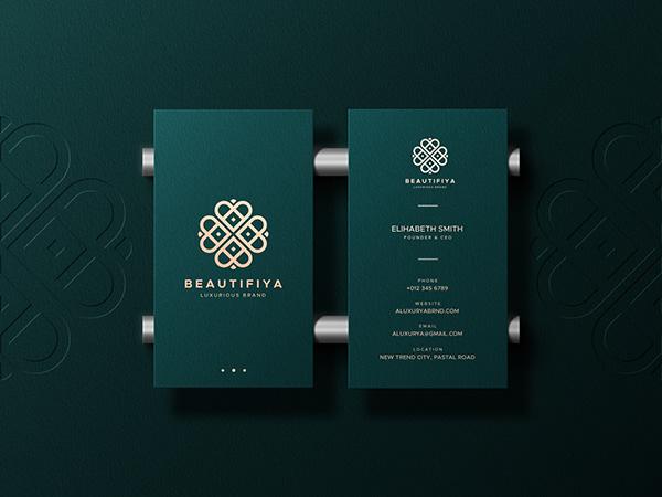Elegant Business Card Mockup with a Letterpress Logo