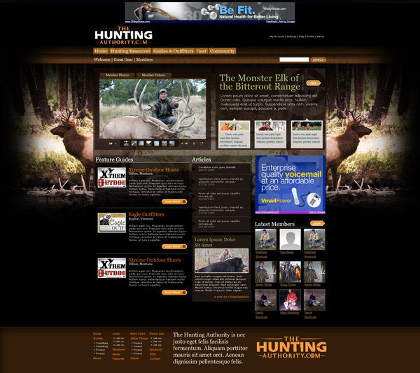 The Hunting Authority Web Template on Behance F2a9yreV