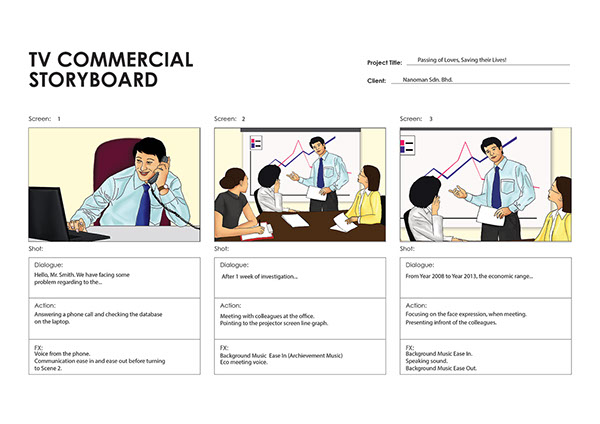 Tv Commercial Storyboard For Portable Fire Extinguisher On Pantone