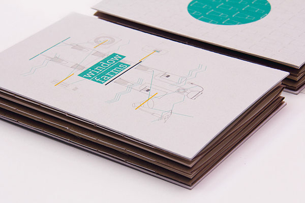 window farms information design infographics book print Urban Agriculture urban farming binding saddle sewn Hand Bound Graphs illustrations vectors icons