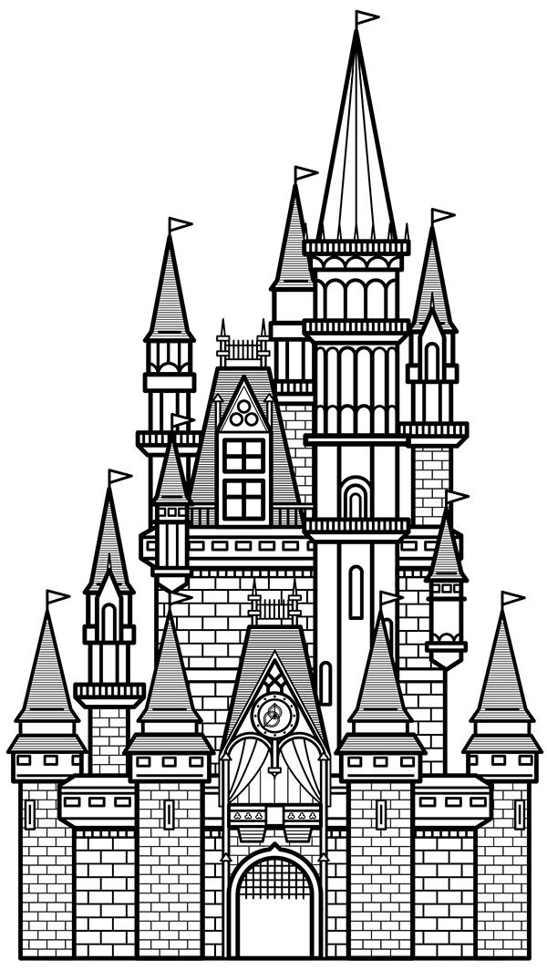 Cinderella Castle Outline Cinderella's Castle on Behance
