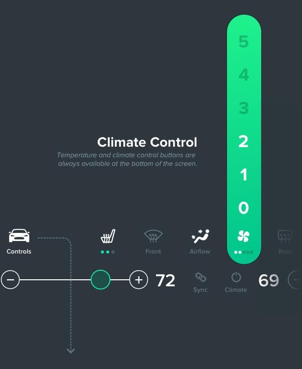 tesla Interface Infotainment UI ux GUI car Model S touchscreen widget grid